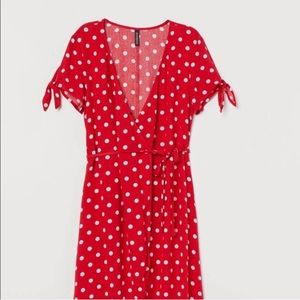 Red/white Polkadot Wrap Dress XS
